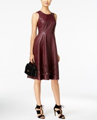 Catherine Malandrino Dupree Faux Leather Laser Cutout Fit And Flare Dress Oxblood