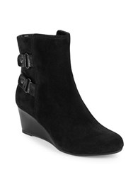Bandolino Ariona Suede Wedge Ankle Boots Black