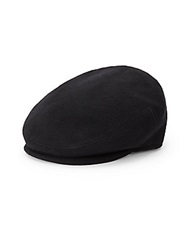 Saks Fifth Avenue Black Wool And Cashmere Newsboy Cap Black