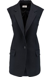 Dkny Pinstriped Wool Blend Vest Navy