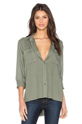 Splendid Rayon Crosshatch Long Sleeve Button Up Olive