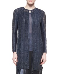 Elie Tahari Melody Long Distressed Leather Coat Navy
