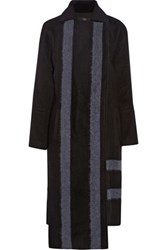 Tibi Asymmetric Wool Blend Coat Black
