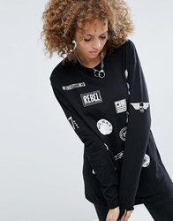Asos T Shirt With Punk Badges In Double Layer Oversized Fit Multi
