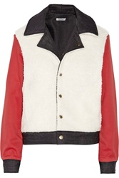 Current Elliott Charlotte Gainsbourg Reversible Faux Shearling Denim And Twill Jacket White