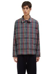 Thom Browne Madras Checked Packable Anorak Jacket Burgundy