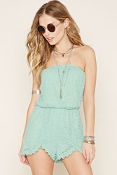 Forever 21 Strapless Floral Lace Romper