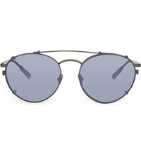 Kris Van Assche Kva71 Unique Circular Combination Aviator Sunglasses Green And Grey