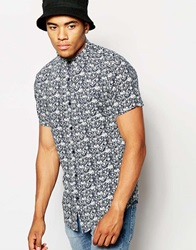 New Look Short Sleeve Shirt With Diamond Floral Print Navy
