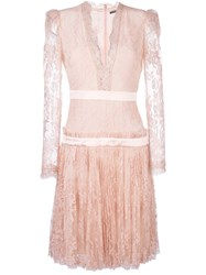 Alexander Mcqueen Lace V Neck Dress Pink Purple