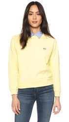 Maison Kitsune Tricolor Fox Patch Sweatshirt Lemon