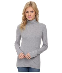 Splendid 1X1 Long Sleeve Turtleneck Heather Grey Women's Long Sleeve Pullover Gray