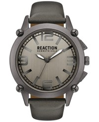 Kenneth Cole Reaction Men's Gray Faux Leather Strap Watch 49Mm 10030950 Grey