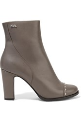 Karl Lagerfeld Studded Leather Ankle Boots Gray
