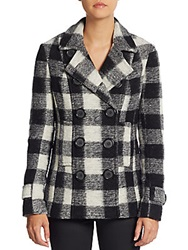 Bailey 44 Double Breasted Plaid Wool Blend Peacoat Black White