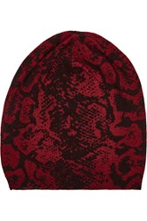 Autumn Cashmere Snake Print Cashmere Beanie Red