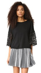 Autumn Cashmere Cropped Sweater With Lace Sleeves Black
