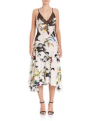 Roberto Cavalli Silk Bird Print Handkerchief Dress White Multi