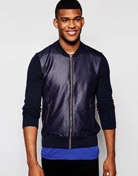 Boss Orange Bomber Jacket With Knitted Sleeves Navy