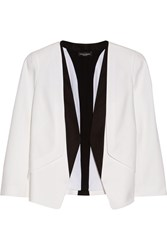 Narciso Rodriguez Silk Faille Trimmed Wool Crepe Blazer White