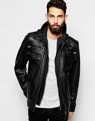 Schott Leather Jacket With Hoodie Insert Black