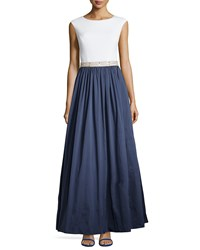 Aidan Mattox Jersey Bodice And Taffeta Skirt Gown Ivory Twilight