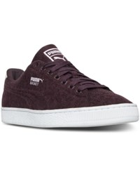Puma Men's Basket Classic Embossed Wool Casual Sneakers From Finish Line Winetasting Lilac Snow