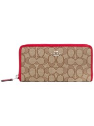 Coach Zip Around Wallet Nude Neutrals