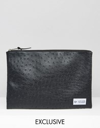 Hype Exclusive Pouch In Faux Ostrich Leather Black Multi