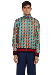 Gucci Geometric Print Teddy Bomber Jacket Green
