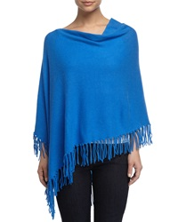Minnie Rose Cashmere Cowl Neck Fringe Poncho Blue Door