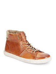 Frye Bedford Leather High Top Sneakers Cognac