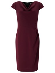 Jacques Vert Crepe Cowl Neck Dress Dark Red