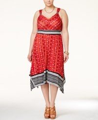 American Rag Plus Size Printed Handkerchief Hem Midi Dress Only At Macy's Barbados Cherry