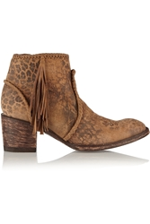 Mexicana Adela Leopard Print Washed Suede Ankle Boots
