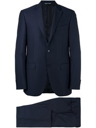 Canali Pinstriped Two Piece Suit Blue