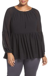 Addition Elle Love And Legend Plus Size Women's Bishop Sleeve Babydoll Blouse Black