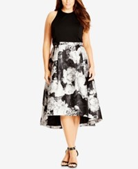 City Chic Plus Size Victoria Printed High Low Dress Black