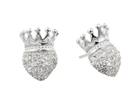 King Baby Studio Crowned Heart Post Earring Pave Cz