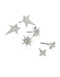Robert Rose Pave Stud Earrings Set Silver