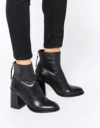 New Look Leather Zip Back Ankle Boot With Block Heel Black