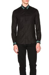 Versace Embroidered Collar Trend Shirt In Black