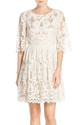 Petite Women's Eliza J Bell Sleeve Lace Fit And Flare Dress