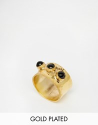 Mirabelle Thick Gold Plated Textured Ring With Onyx Onyx