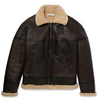 Balenciaga Oversized Shearling Aviator Jacket Brown