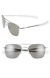 Randolph Engineering 52Mm Aviator Sunglasses Matte Chrome Grey