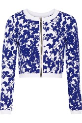 Milly Midnight Cropped Jacquard Knit Jacket Blue