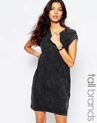Noisy May Tall Acid Wash T Shirt Dress With Studded Sleeve Black