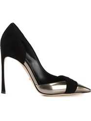 Sergio Rossi Suede And Leather Contrast Pumps Black