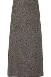 Rosetta Getty Metallic Boucle Midi Skirt Gray